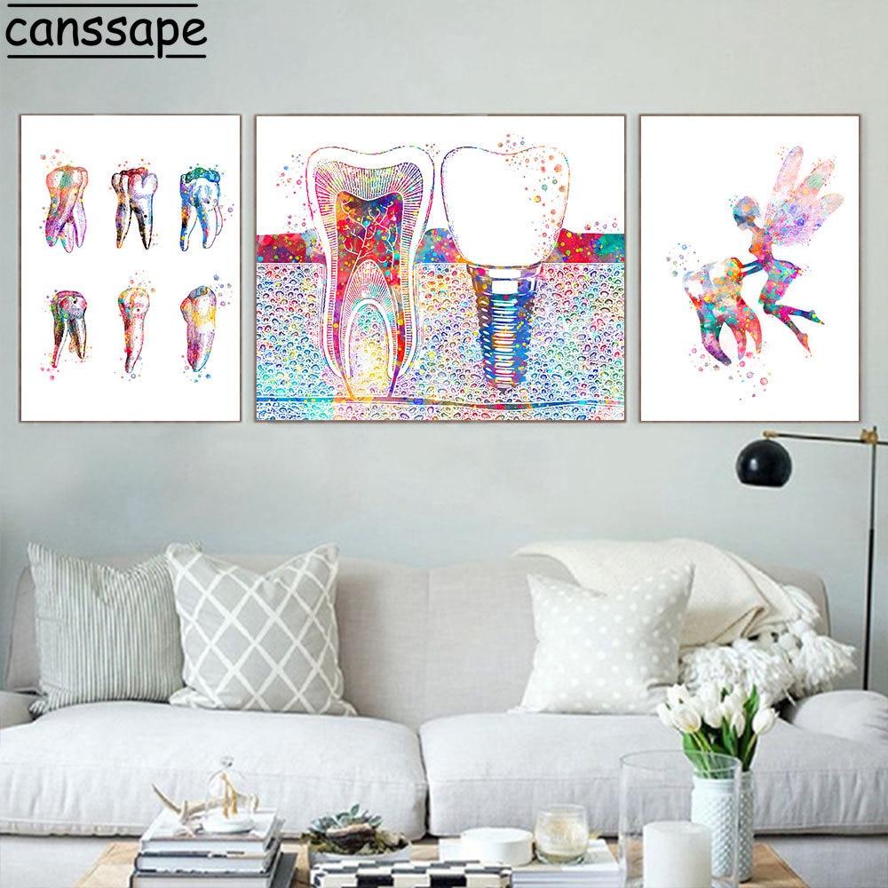 Стоматологический художественный постер, картина из холста с зубным имплантатом, гигиенист, стоматологический молярный настенный художес...