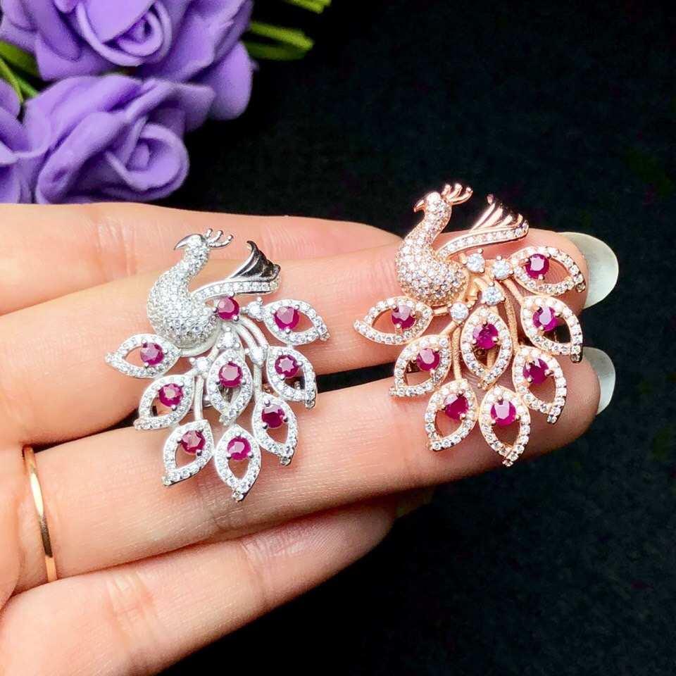 Paon propagation sa queue plume rouge ruy collier pour femmes bijoux avec argent chaud seling cadeau anniversaire fête