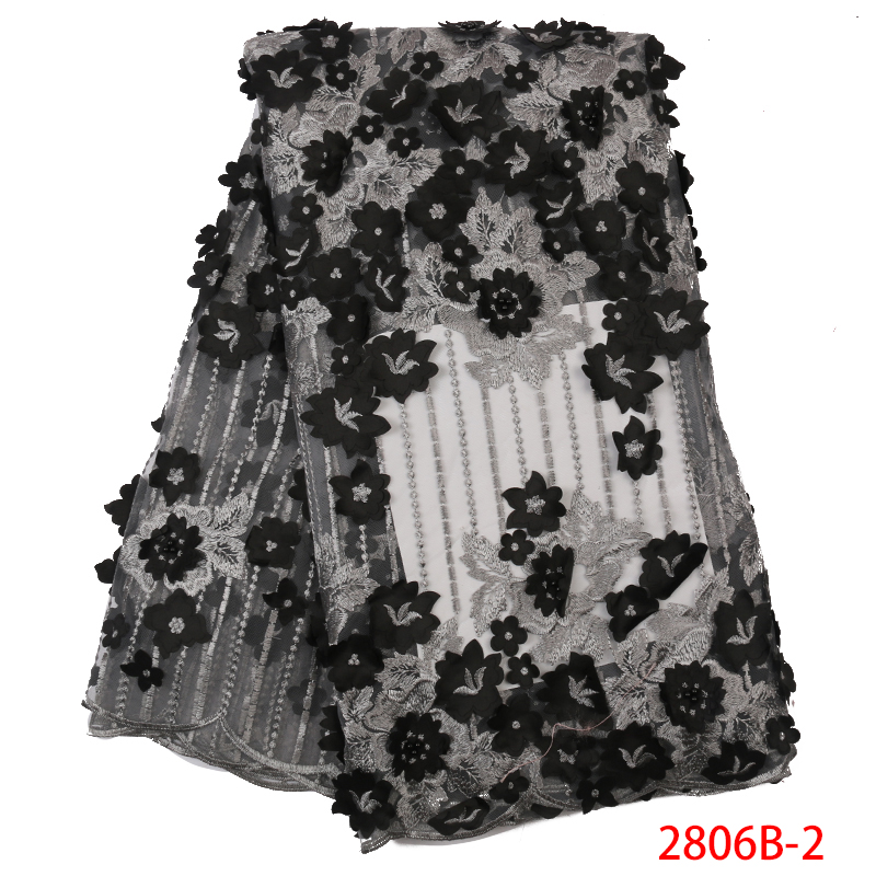 New Arrival French Tulle Lace Fabric 3D Flowers Fabric Nigerian Embroidered Laces With Beads For Party Dresses KS2806B-2