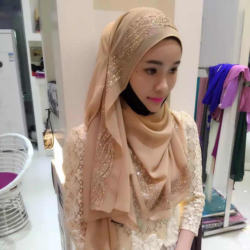 Musulmán islámico hijab moda mujer lujosa perla chifón telas planchado largo bufandas chal cubierta para la nacionalidad Hui suave