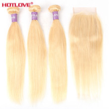 Peruvian 613 Blonde Hair Bundles with Closure 613 Straight Hair Weave 3 Bundles With 4*4 Closure Remy Human Hair Weave(China)