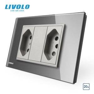 Image 3 - Livolo Brazilian/Italian Standard 2gangs 3 Pins 20A Socket,Glass panel Brazilian Plug,  C9C2CBR2 11/12