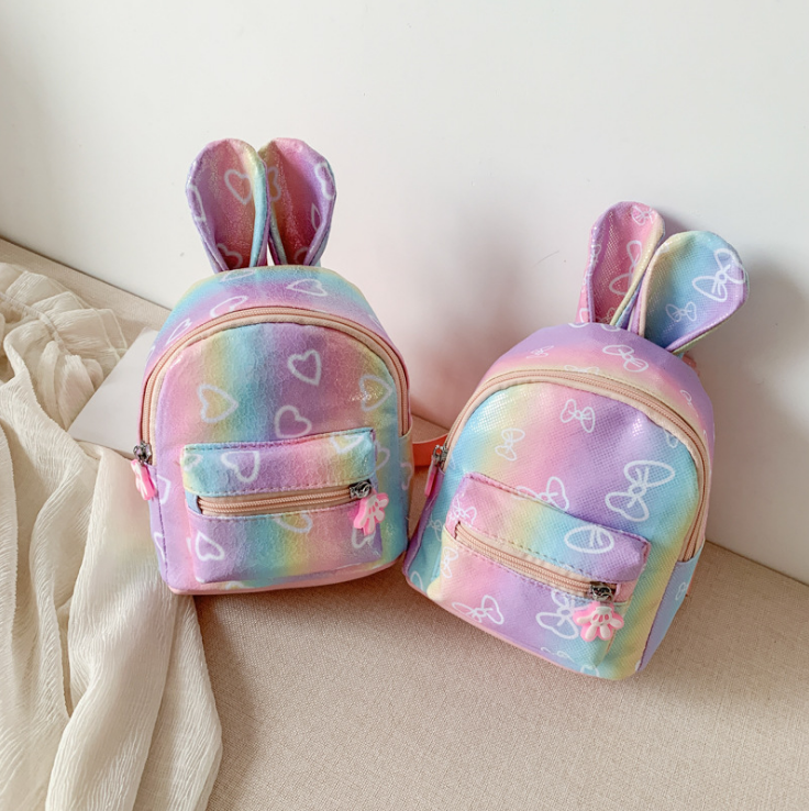 New 3D Cartoon Kids Rabbit Ear Bag Pink Backpack For Children Plush School Bags Pu Backpack For Girls