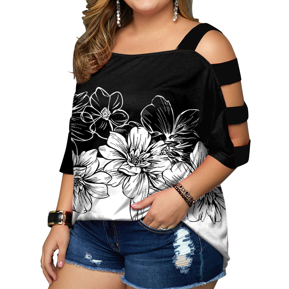 5XL Plus Size Floral Print Women T Shirts Casual Hollow Out Half Sleeve Loose Tops Fashion Street Ladies Summer Tee 2021 New D30