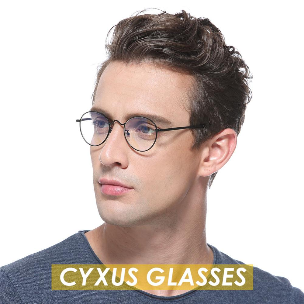 Cyxus Anti Blue Light Computer Glasses Anti Eye Eyestrain Round Metal Frame Unisex -8702
