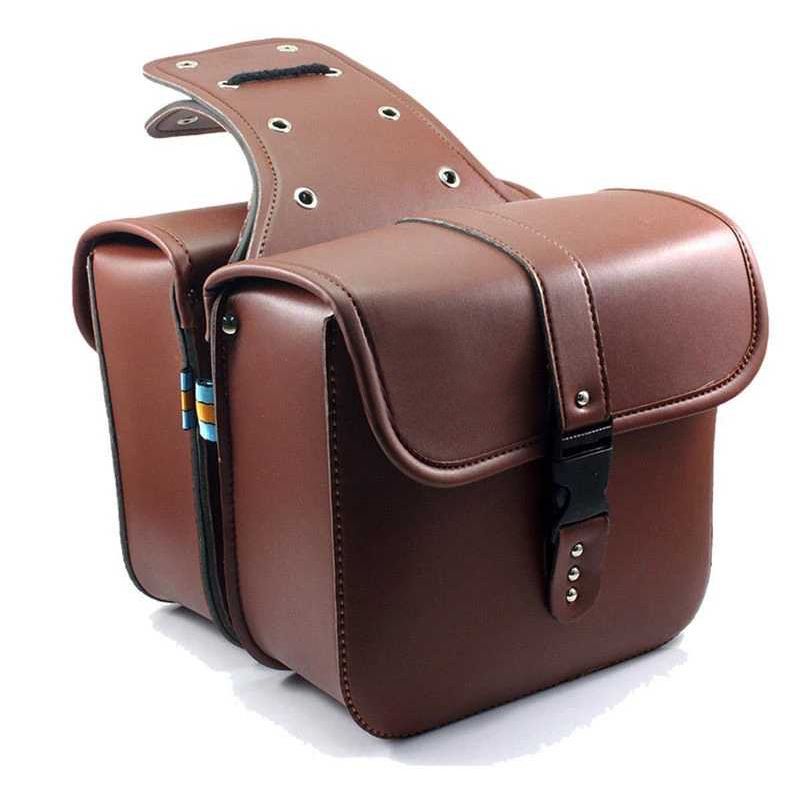 New XL883 XL1200 Motorcycle Saddle Bags For Harley Sportster XL 883 XL 1200 Pu Leather Side Tool Bag Luggage Black and Brown 2