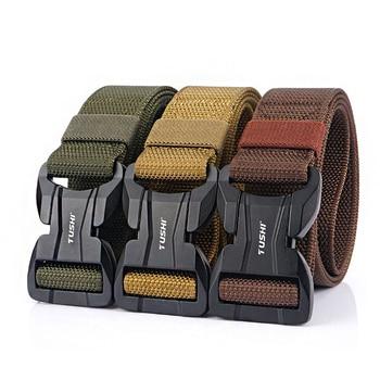 цена на Fashion Men Belt Magnetic Buckle Tactical Belts For Jeans Pants Multifunctional Nylon Outdoor Training Male Belt Quick Release