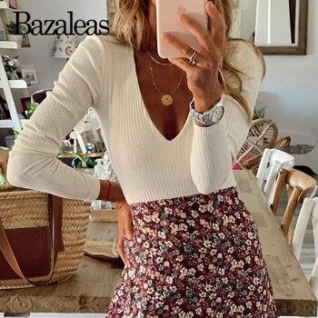 Bazaleas Vintage Sexy Deep V Neck Sheath Jumpsuit Retro Long Sleeve Knitted Women Bodysuit Fashion Rompers 1