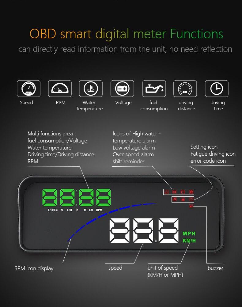 "P9 3.6/"" Car HUD Head Up Display OBD2 OBDII Fuel Consumption Speed Warning System"