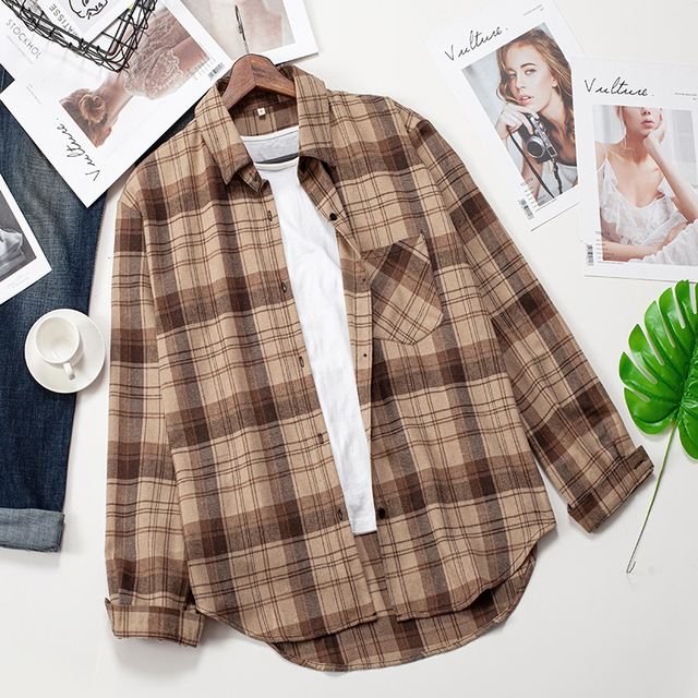 2020 Plaid Shirts Women Top And Blouses Long Sleeve Oversized Cotton Ladies Casual Blusas One Pocket Loose Female Checked Shirt 4