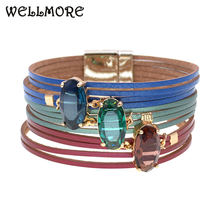 Женский кожаный браслет wellmore элегантный из стекла ювелирное