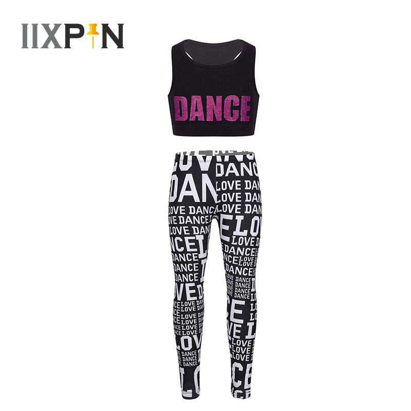 Kids Girls Sportwear Outfit Crop Top Sports Bra Top With Pants Leggings Ballet Dance Gymnastics Costume Workout Fitness Clothes