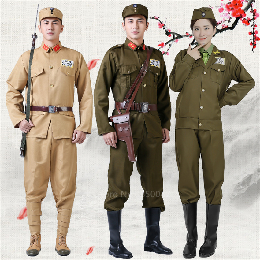Stage Performance Military Uniform Chinese Style Soldier Officer Japanese Traditional Cosplay Costume Women Men Holloween Party