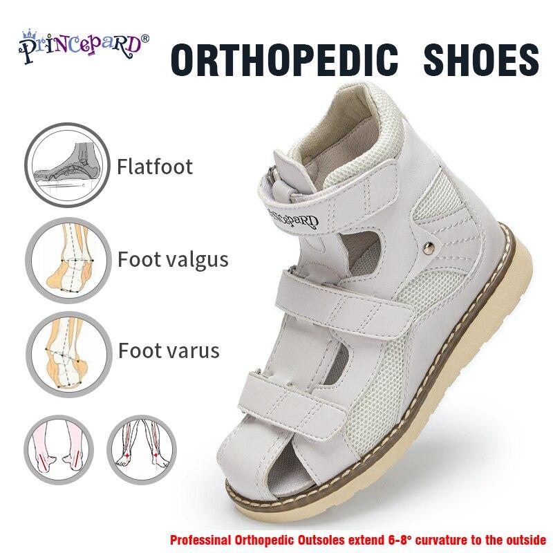 Princepard New Summer Children Orthopedic Shoes Boys Girls Closed Closed Cap Sandals Genuine Leather Ebropean Size 19-36