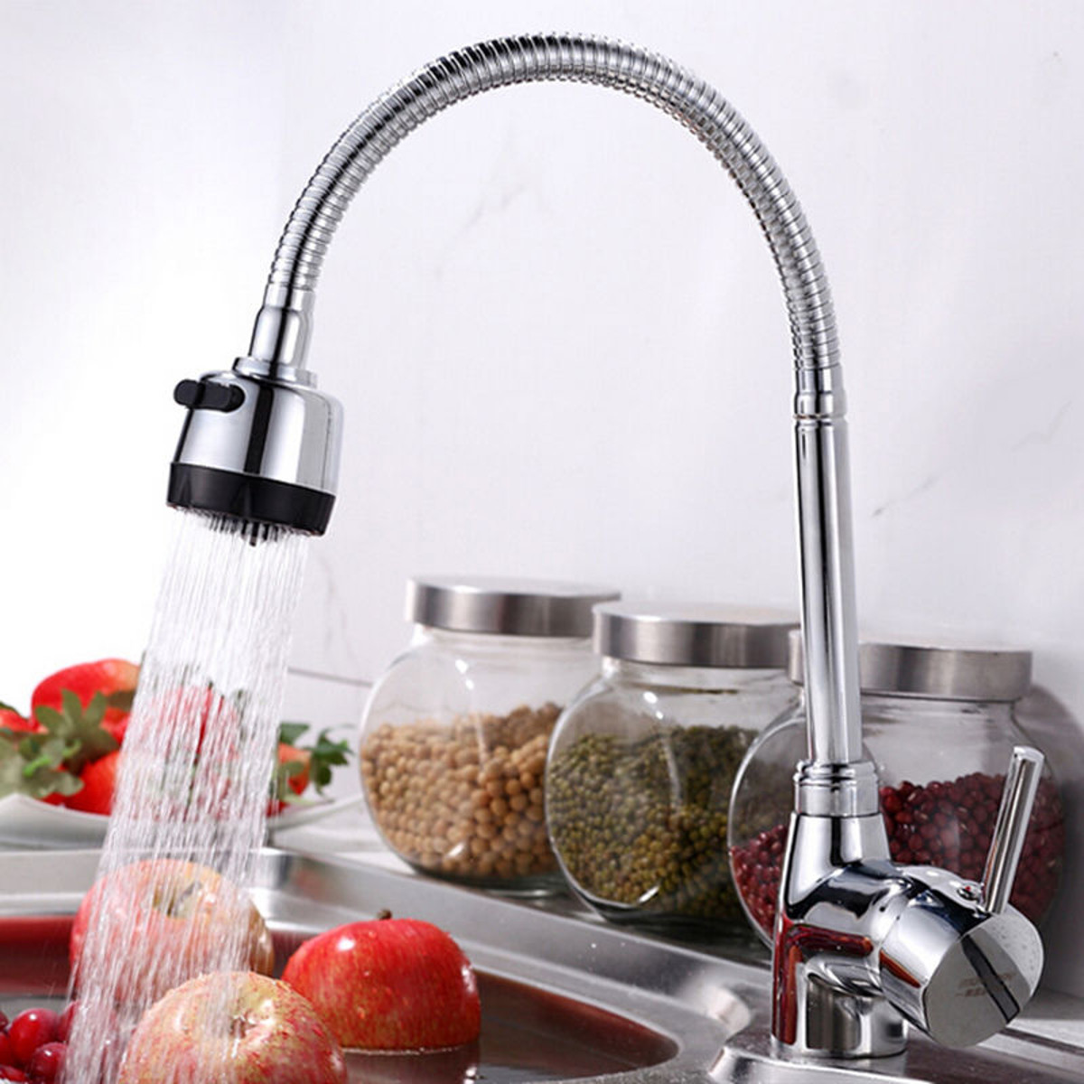 Solid Brass 360Rotatable Pull Out Kitchen Spray Basin Faucet Mixer Tap Spout Single Handle Sink Adjustable Spout Deck Mounted