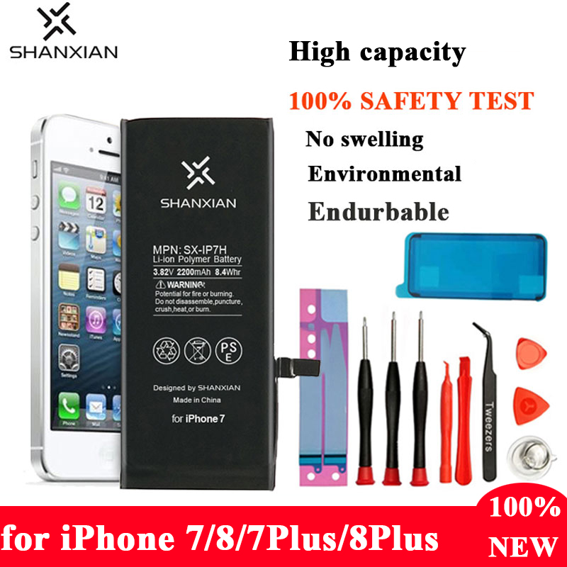 SHANXIAN High Capacity Mobile Phone Battery for iPhone 7 8 Bateria 2200mAh Replacement Battery Apple phone 7Plus 8plus Good Tool