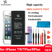 Buy SHANXIAN High Capacity Mobile Phone Battery for iPhone 7 8 Bateria 2200mAh Replacement Battery Apple phone 7Plus 8plus Good Tool directly from merchant!