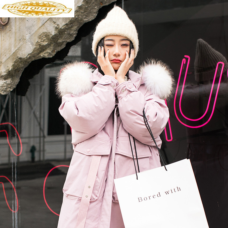 2020 New Women's Winter Down Jacket Hooded Plus Size Thick Long Coat Pink Korean White Dock Down Jackets For Women 6886 Kj2614
