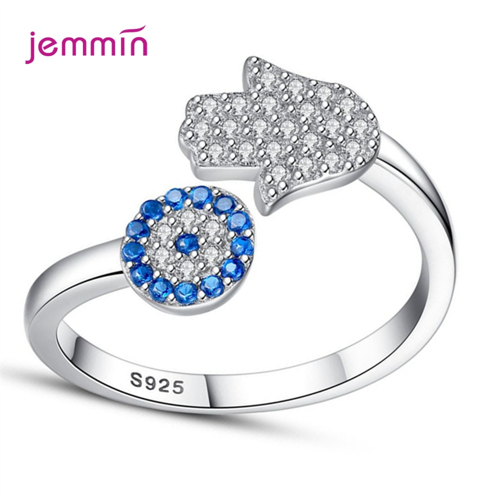 Creative Hand Blue Sapphire 925 Sterling Silver Cubic Zirconia Open Rings For Women Engagement Wedding Jewelry 925 Seal Bague