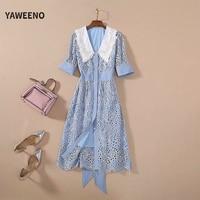 Yaweeno New Summer Elegant Fashion Dresses Women High Quality Cotton Flower Embroidery Button Elastic Waist Sweet Midi Dress