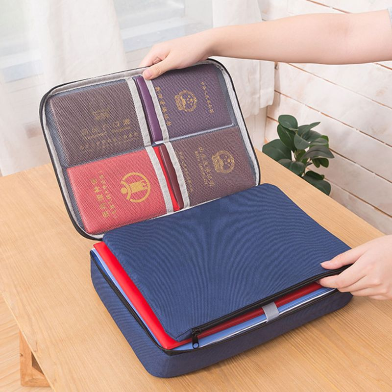 Document Ticket Storage Bag Waterproof Large Capacity Different Compartments Certificates Files Organizer For Home Office Travel