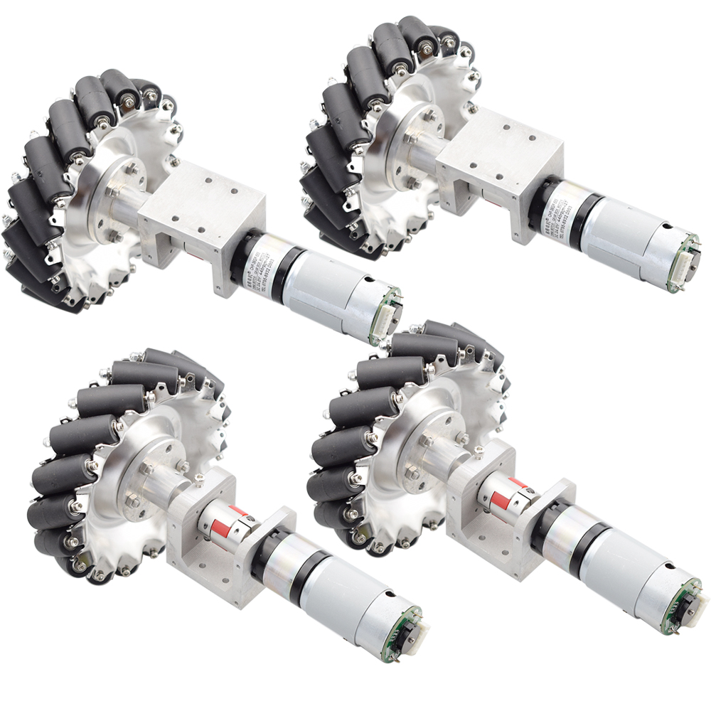 1 Set 100KG Big Load 152mm Omni Mecanum Wheel With 4pcs 24V 120W 230rpm Speed Encoder Motor For Arduino DIY Project Research