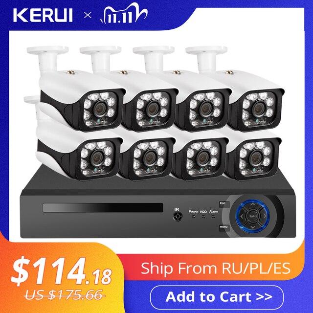 KERUI 8CH 5MP 무선 NVR POE 보안 카메라 시스템, 야외 IR CUT CCTV 비디오 감시, 비디오 레코더 키트 얼굴 기록