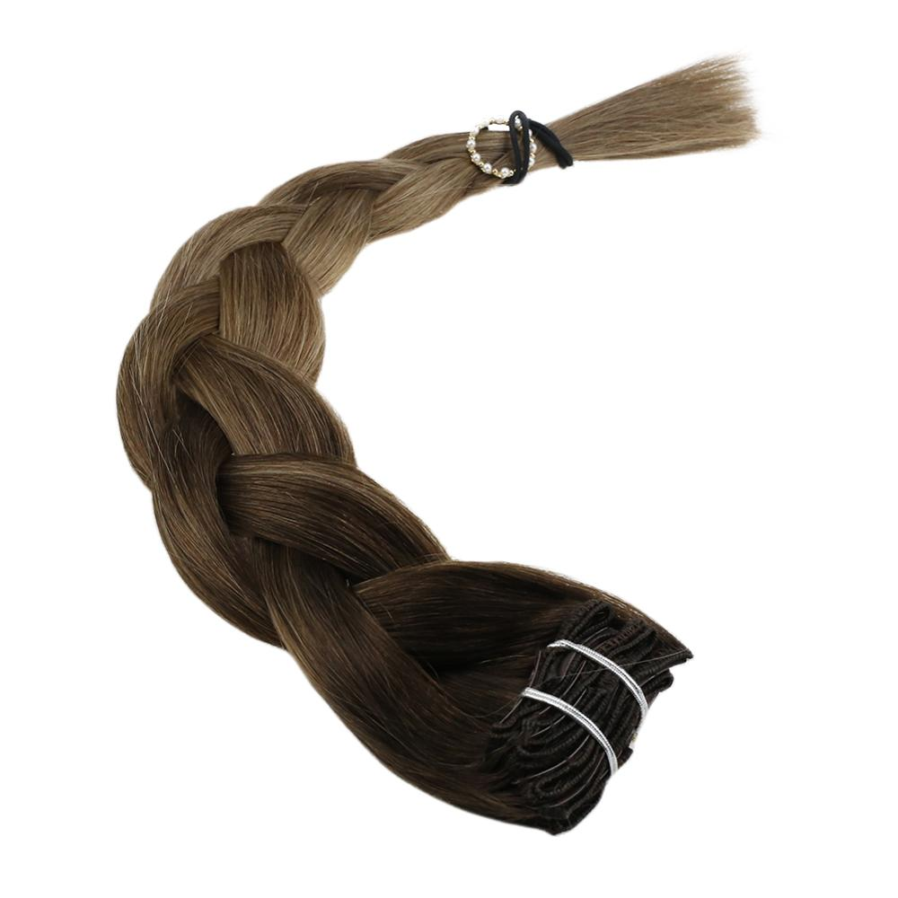 VeSunny Double Weft Clip In Hair Extensions 100% Real Human Hair 7pcs 120gr Balayage Ombre Dark Brown To Dark Blonde #4/10/16