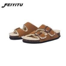 Cork Slippers Flip-Flops Flats-Shoes Footwear Couple Fashion Unisex Warm Winter Black