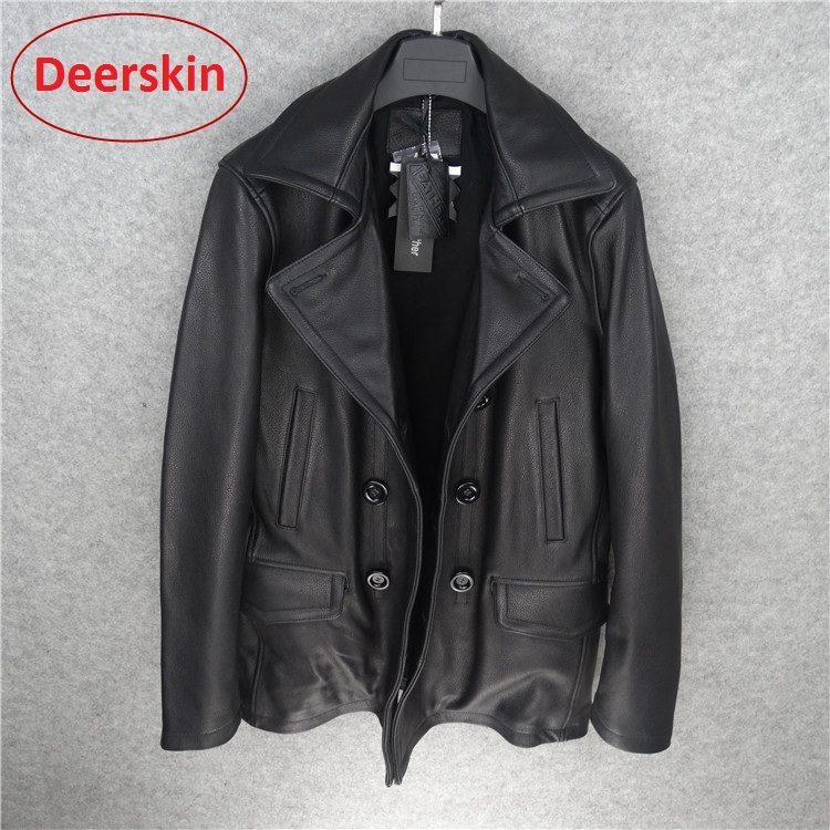 Free Shipping.Peacoat Brand Man Thicker Deerskin Jackets,men's Genuine Leather Classic Style Jacket.Windbreaker,winter Clothing