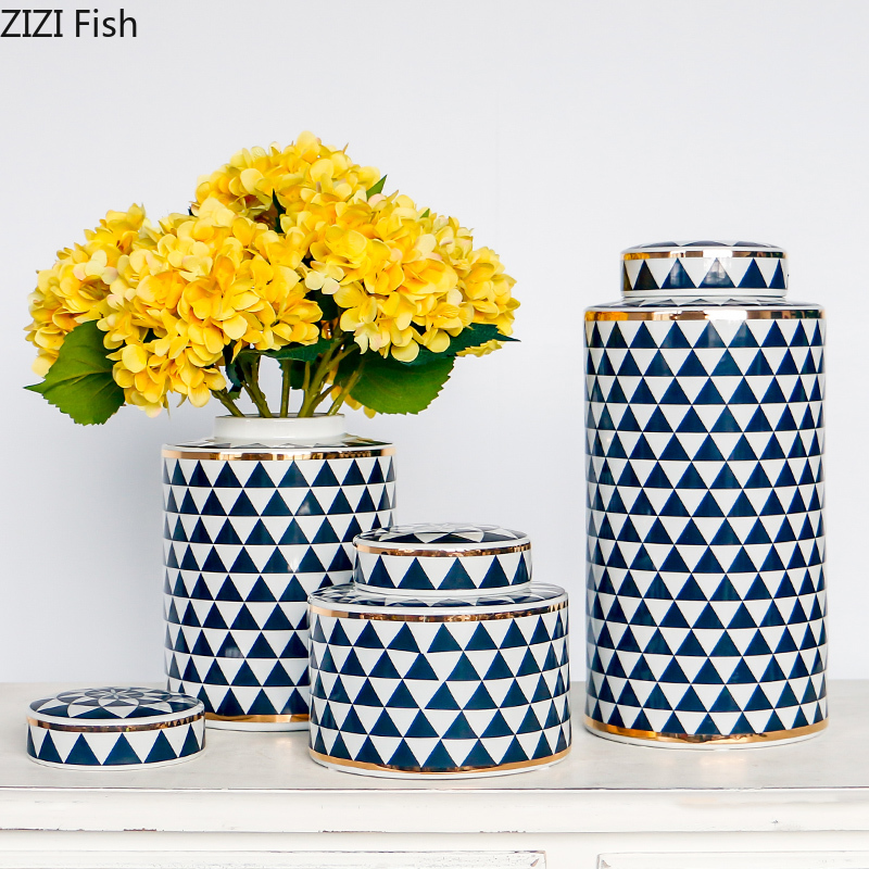 Inventive Geometric Ceramic Storage With Lid Modern Creative Vase Home Decoration Living Room Desktop Small Objects Candy Storage Jar New Promoting Health And Curing Diseases