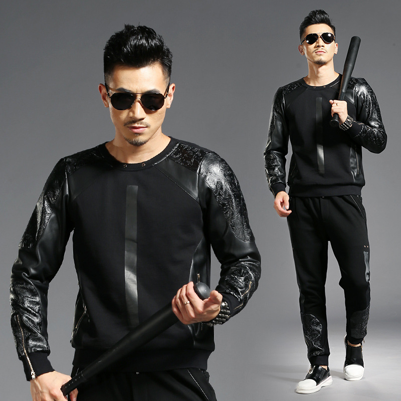 Tao Bai Ye Autumn And Winter Europe And America Cool Men Casual Sports Clothes Set Fight Skin Two-Piece Set 2857/K857