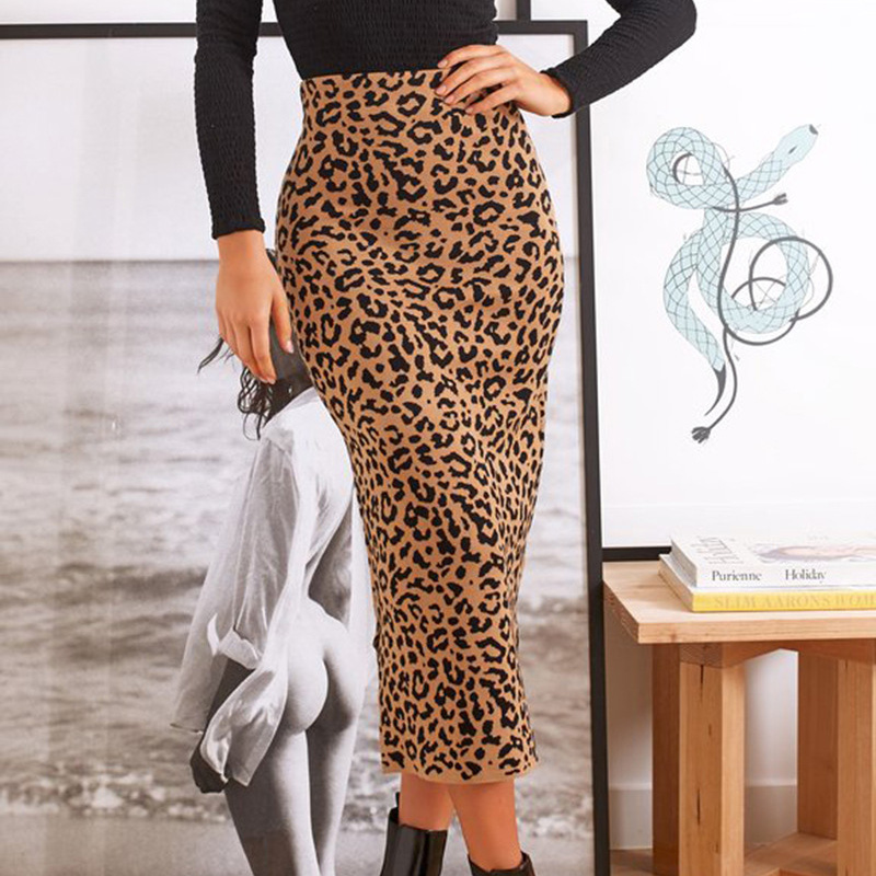 Leopard Autumn High Waist Office Lady Bodycon Pencil Long Skirts 2019 New Arrived Women Elastic Waist Tight Maxi Skirt Winter