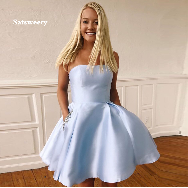 Strapless Light Sky Blue Cocktail Dresses With Pockets 2020 New Satin Knee Length Graduation Formal Party Dress Homecoming Gowns