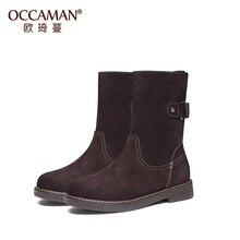 OCCAMAN Snow Boots Winter Vintage Footwear Warm Plush Flats Buckle Strap Mid-Calf Shoes 16156 eyelet buckle strap mid calf boots