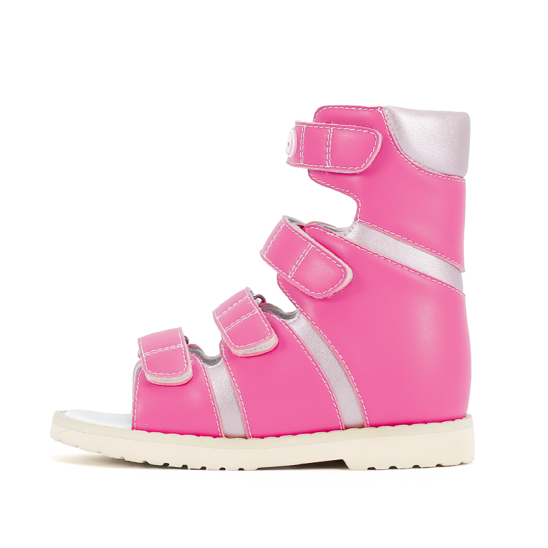 Ortoluckland Girls High Top Orthopedic Shoes Children Leather Sandals Kids Bend Platform Flatfeet Ankle Shoes withRigid Backdrop