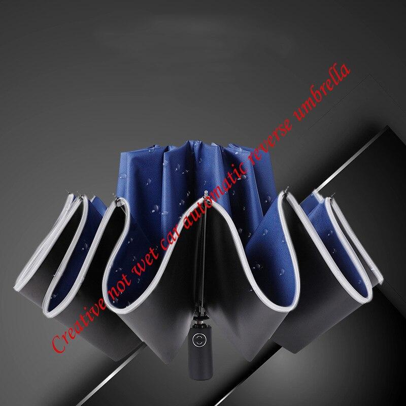 2020 new umbrella creative 10 bone reflective umbrella automatic car reverse umbrella vinyl folding outdoor travel umbrella
