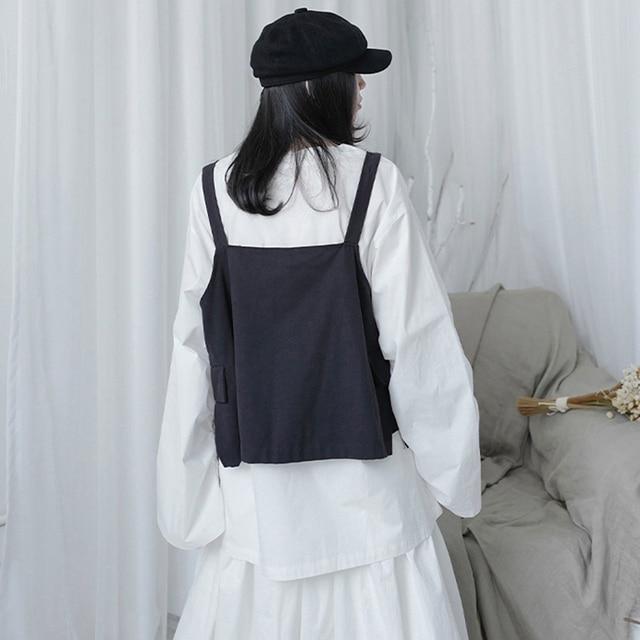 [EAM] Women Loose Fit Black Pocket Brief Temperament Vest New V-collar Sleeveless Fashion Tide Spring Autumn 2021 1DA993 5