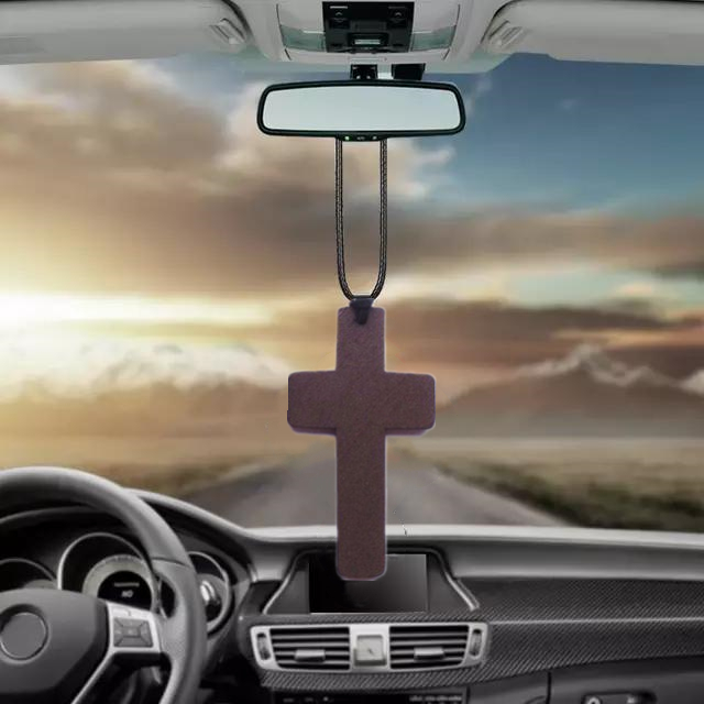 Wooden Jesus Across Auto Pendant Crucifix Car Accessories Neck Hanging Ornaments Rearview Mirror Decoration Keep Safe