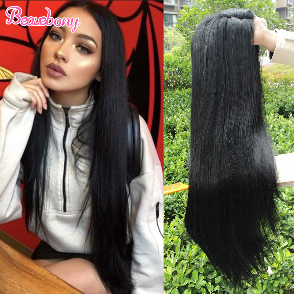 Beauebony Lace Wig Synthetic Wigs For Women Straight Long Black Wig Cosplay Mujer / Daily Use Part Lace Wigs Synthetic Hair Wig