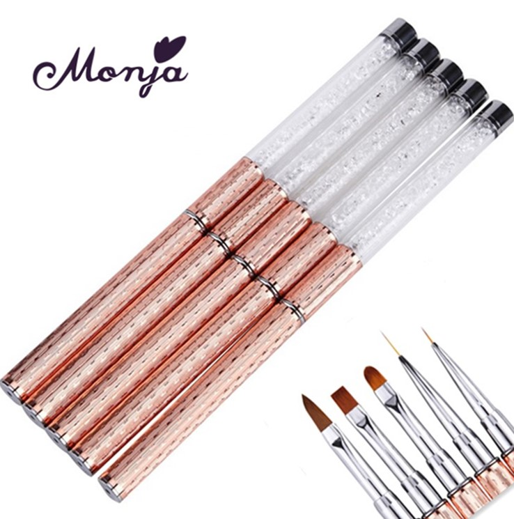 Nail Art Metal Acrylic Liquid Powder Carving UV Gel Extension Builder French Flower Stripe Painting Drawing Liner Brush