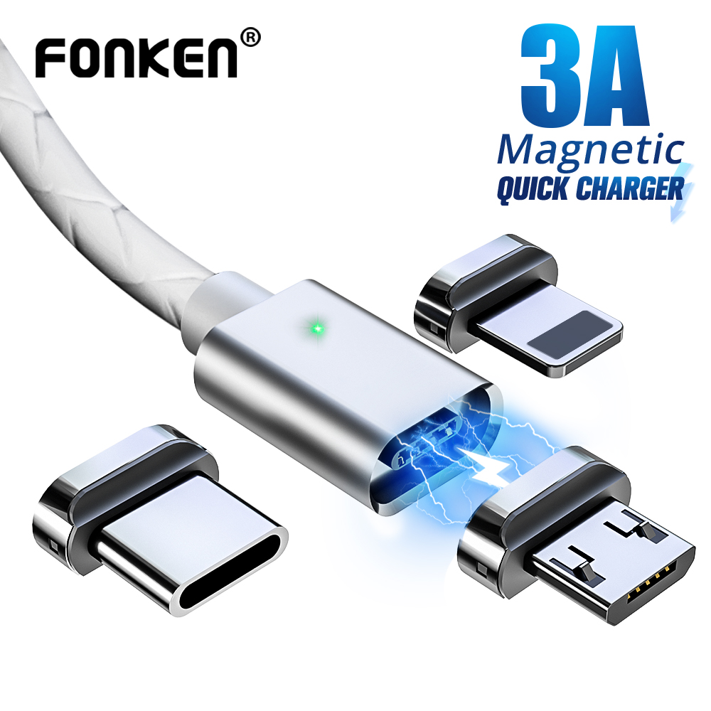 FONKEN USB Type C Magnetic Cable Magnet Charge Charger Cable USB C Data Cord Sync Mobile Phone Cables Fast Charging Type-C Wire