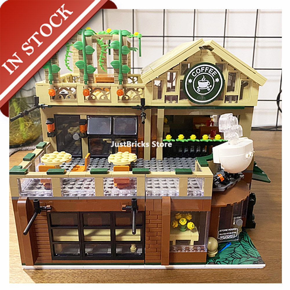 Street View Casual Coffee House LED Light 601093 In Stock Building Block 2095Pcs Bricks Toy Gifts Street View Ideas City