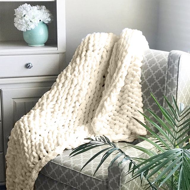 Chenille Chunky Knitted Blanket Weaving Blanket Mat Throw Chair Decor Warm Yarn Knitted Blanket Home Decor