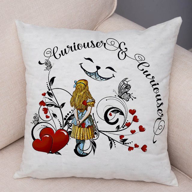 Alice in Wonderland Cushion Cover Cute Rabbit Cat Printed Sofa Pillow Vintage Home Decorative Pillow Case for Children room