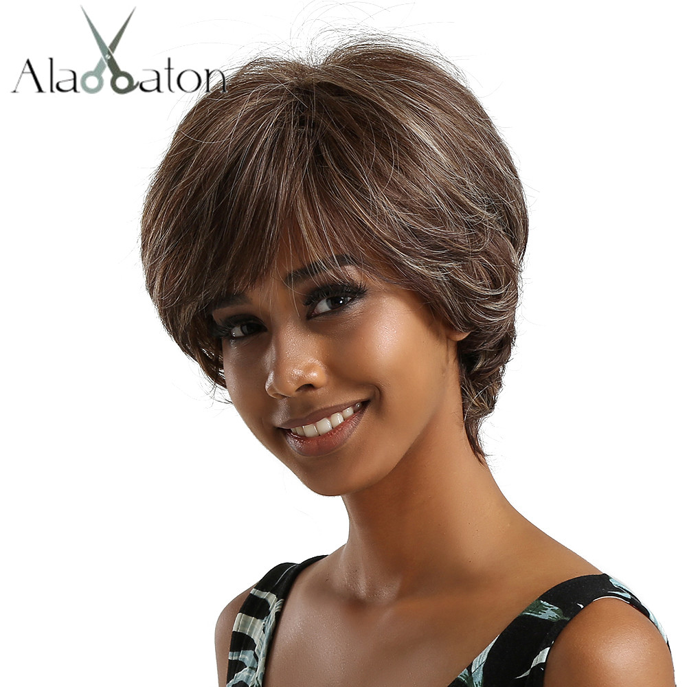 ALAN EATON Short Wavy Synthetic Wigs Mixed Brown Sliver Ash Hair Wigs with Side Bangs for Black Women Afro Heat Resistant Fiber