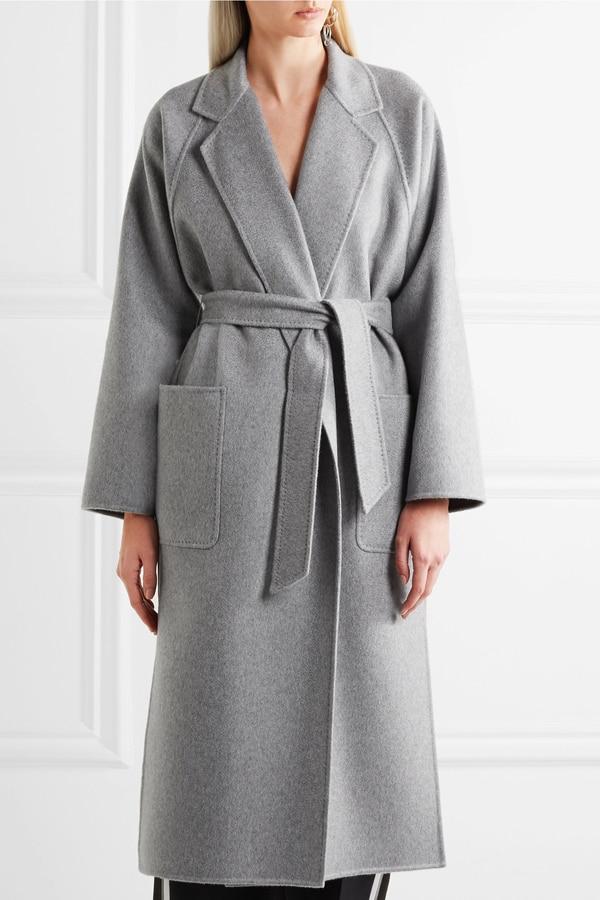 UK 2020 Spring New design Women Simple Wool Maxi Long Coat Robe Slim fit overcoat Casual coat with belt Grey Wool & Blends  - AliExpress