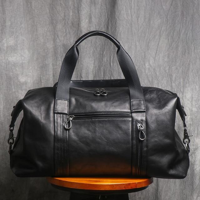 AETOO Leather handbag men's large-capacity travel bag vegetable tanned head layer cowhide shoulder diagonal bag light travel lug 2