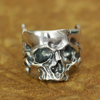 LINSION 925 Sterling Silver Head Open Twisted Skull Ring Mens Biker Punk Ring TA186 US Size 7~15