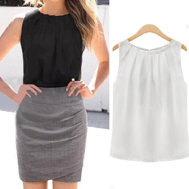 Summer Blouse Elegent Women Solid Color Chiffon Shirts Casual Sleeveless O-neck Loose Pullover Blouse Tops Clothing 1